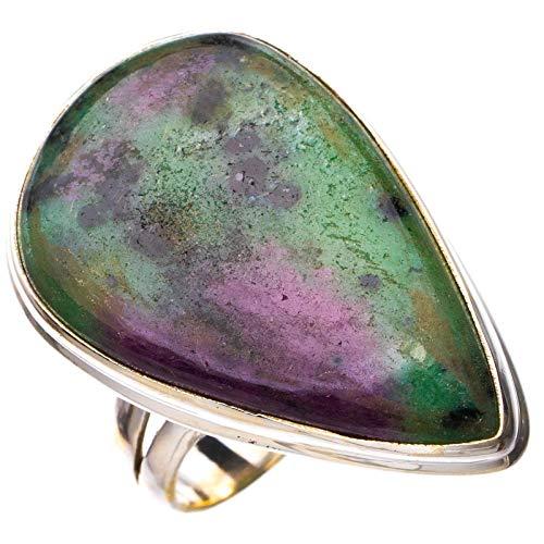 StarGems Anillo de plata de ley 925 de rubí natural hecho a mano con Zoisita de rubí N 1/2 E2145