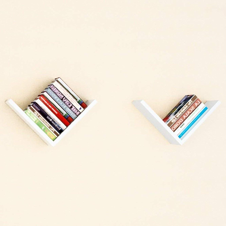なだめる候補者致命的Selm 棚木製L字型クリエイティブラティスの背景の壁の創造的な家の壁の本棚 (Color : White)