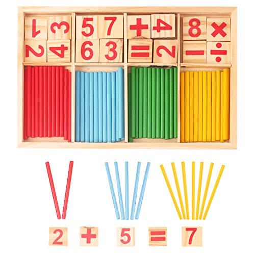 LOVEXIU Giochi Montessori,Giocattoli Educativi Montessori,Set di Montessori Bastoncini in Legno,Barra dell'Intelligenza Matematica per Bambini con Numeri e Bastoncini per Contare
