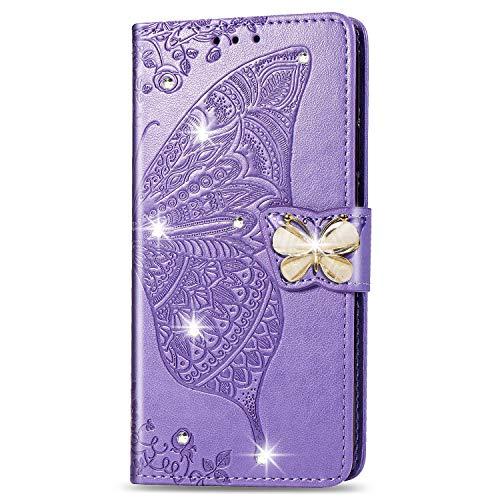 Lederhülle kompatibel mit Motorola Moto G7 Power Hülle Glitzer Diamant Bling Handyhülle Handy Tasche Flip Hülle Cover Schutzhülle mit Kartenfach für Mädchen Frauen - Schmetterling Helles Lila