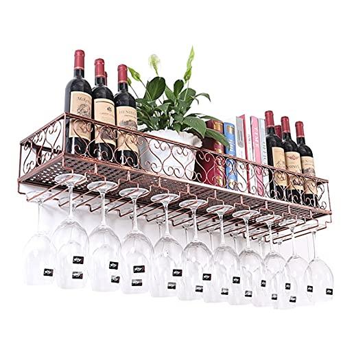 WHOJS Soporte para Copas Estante de Vino de Metal/Hierro para Colgar en la Pared Copa Bandeja de Almacenamiento Estilo Vintage Sostenedor de Vino rústico Estante para(Size: 120cm/47in,Color:Bronce)