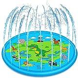 Achort Tapis Enfant de Jet d'eau, Tapis de Piscine à Jet d'eau de 170 cm avec Motif de Dinosaure, Jeux et Jouets d'extérieur gonflables en PVC Durable, Tapis de Jeu Splash Water Splash