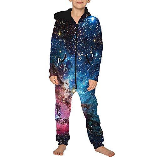 Jumpsuit Jogger für die Ganze Familie, Morbuy Unisex Junge Mädchen Kapuzenpullover Strampelanzug 3D Sternenklarer Himmel Printed Onepiece Sweatshirt Strampler Nachtwäsche (XL(155-160cm),Universum)