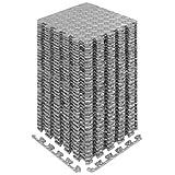 Yes4All Interlocking Exercise Foam Mats with Border – Interlocking Floor Mats for Gym Equipment – Eva Interlocking Floor Tiles (Gray)