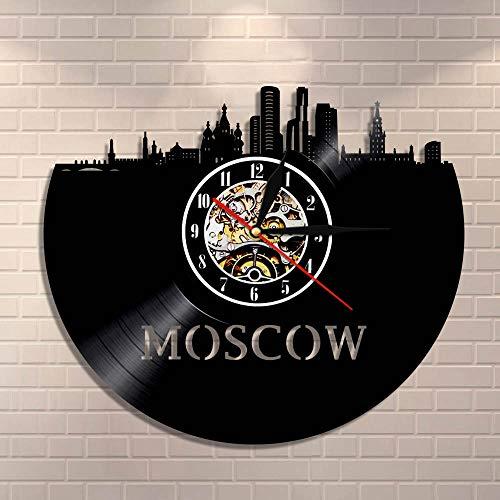 BFMBCHDJ Russische Architektur Wandkunst Moskau Wanddekor Vintage Vinyl Schallplatte Wanduhr Moskau Skyline Stadtbild Russisches Touristengeschenk