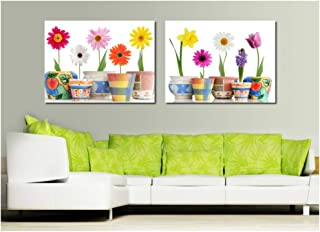 Desconocido Cuadro de Flores rectangulares con diseño de Girasol Moderno para decoración de Sala de Estar, póster de impresión artística, 50 x 70 cm, sin Marco