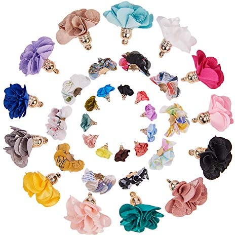 SUNNYCLUE 60pcs 3 Style 3D Cloth Flower Charms Pendants Fabric Floral Petal Tassel with Metal product image