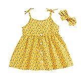 Baby Girl Sunsuit Set Toddler Honey Bees Halter Dress Tutu Skirt with Headband Summer Outfits (Yellow, 12-18 Months)