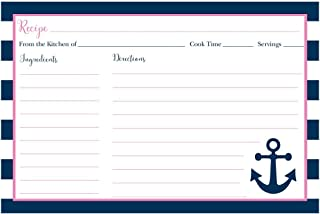 Recipe Cards, Nautical, Bridal Shower, Housewarming, Wedding, Personal, Business, Stripes, Anchor, Nautica, Sea, Sailing, Navy Blue, Pink, 24 Back Printed Cards, Anchored in Love