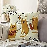 Fundas Decorativas para Cojines Funda de cojín Juego Fun Style Cats Jazz Playing Singer Song Set Three Vintage Man Saxofón Gatito Linda Funda de Almohada Abstracta para sofá