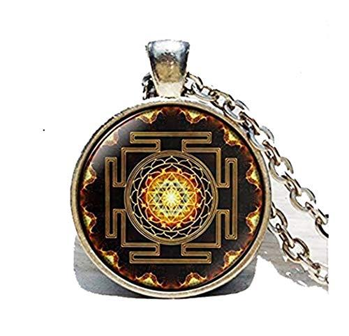 Death Devil Colar com imagem de arte, pingente Sri Yantra, joia de geometria sagrada budista, joia de geometria sagrada, mandala antiga antiga, colar Sri Yantra, budista
