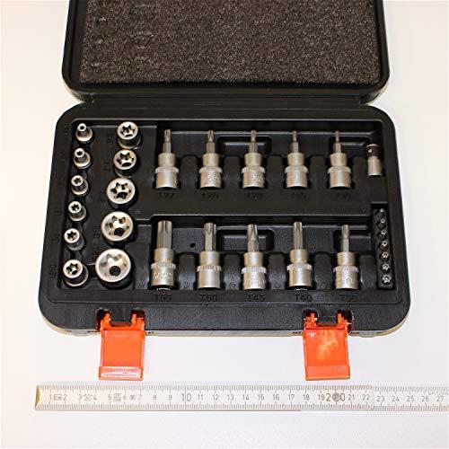 29 tlg Sortiment Torx (R) Vielzahn für innen und aussen Steckschlüssel Satz, Nüsse und Bits 1/4 und 3/8 zoll, 6,25 und 9,5 mm aus Chrom-Vanadium bzw Silizium Stahl, im Koffer.