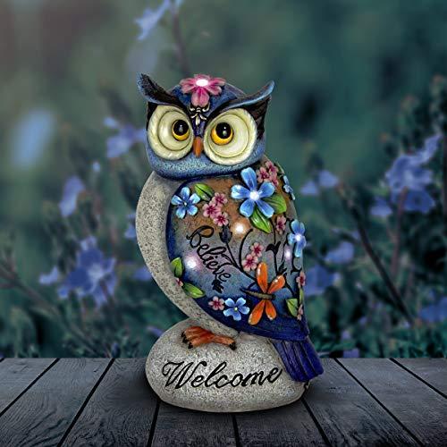 Exhart Welcome Owl Garden Decor - Inspirational Owl Statue with Solar Garden Lights - Solar Owl w/Flowers & Inscribed Welcome - Believe: Garden, Home & Office Decor, Owl Decorations 8.2' x 5.6' x 14'