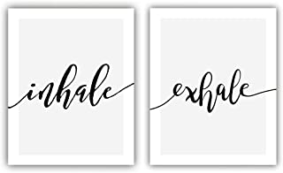 "Inspirational Quote and Saying Modern Minimalist Art Painting,Set of 2 (8""X10"" Canvas Picture),Inhale,Exhale Art Print,Motivational Phrases Wall Art for Bedroom or Yoga Room Home Decor,No Frame"