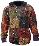 Shopoholic Moda Caballeros Multicolor Patchwork Vellón Suéter con Capucha - Multi, XX-Large