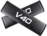 LZYYDS 2 Piezas Coche Almohadilla Hombro del CinturóN Seguridad para Volvo V40,Almohadillas Carbono CinturóN De Seguridad Efecto Fibra De,con Logo,Coche Accesorios Interiore