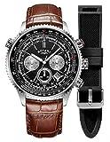 [page_title]-Rotary Herren Piloten | Chronograph | schwarzes Zifferblatt | braunes Lederband GS00100/04/KIT