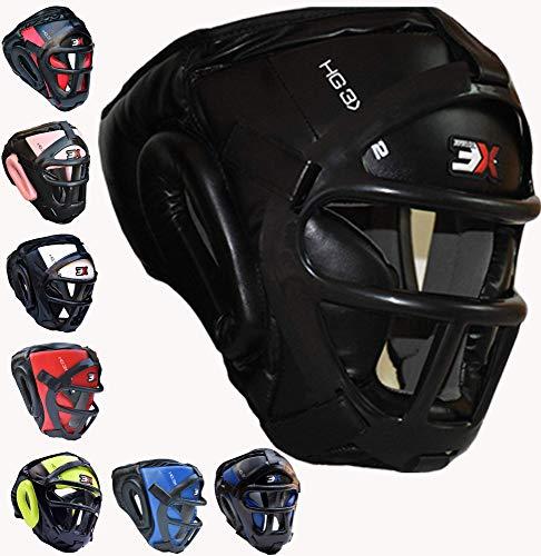 3X Professional Choice Grill Kopfschutz Maya Fell Leder Box MMA Kopfbedeckung UFC Fighting Full Face Protector Kopfbedeckung Sparring Helm