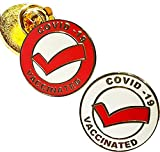 ✅ SET of 2 pins 1 red & 1 white : MUST HAVE You must have in your wardrobe essentials. Wear it casually with your favorite jacket or even to an important event. VACCINATED COVID-19 MESSAGE with medical alert symbol Perfect for ANY ONE : healthcare wo...