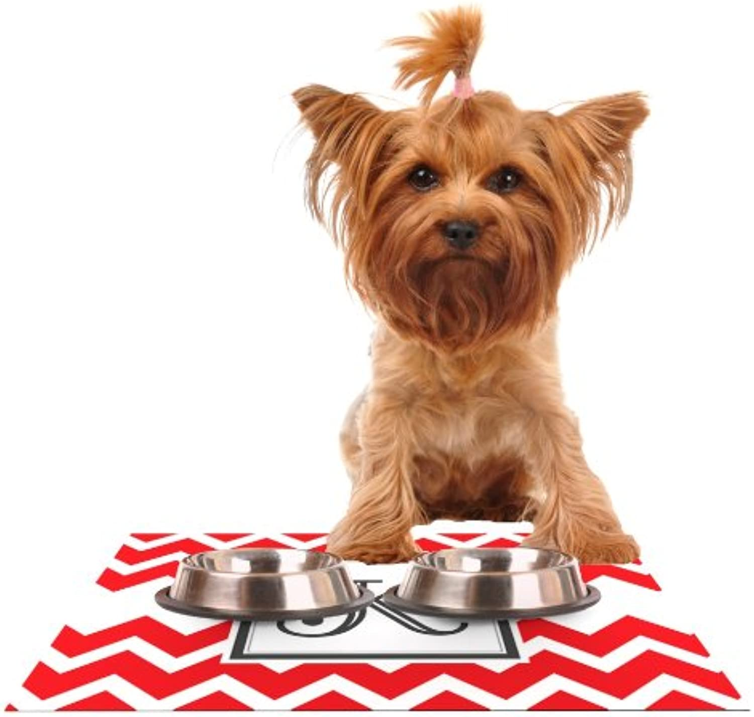 KESS InHouse KESS Original Monogram Chevron Red Letter K  Feeding Mat for Pet Bowl, 24 by 15Inch