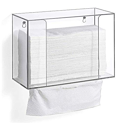 Juzanl Acrylic Paper Towel Dispenser, Universal Clear Paper Towel Holder Box, Fits C-Fold, Z-Fold, Wall Mounted/Countertop Kleenex Hand Paper Towels Holder for Bathroom