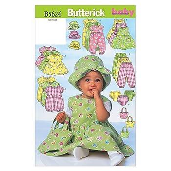 BUTTERICK PATTERNS B5624 Infants  Dress Jumper Romper Jumpsuit Panties Hat and Bag Size NB0  NB-S-M