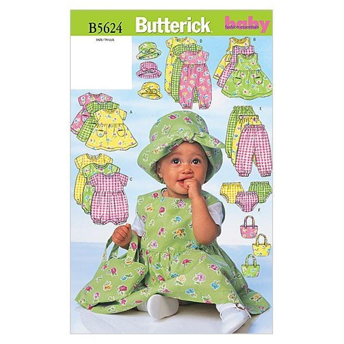 BUTTERICK PATTERNS B5624 Infants' Dress, Jumper, Romper, Jumpsuit, Panties, Hat and Bag, Size NB0 (NB-S-M)