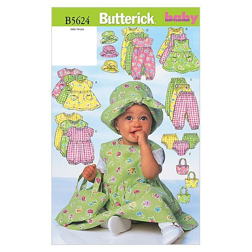 BUTTERICK PATTERNS B5624 Infants' Dress, Jumper, Romper, Jumpsuit, Panties, Hat and Bag, Size NB0 (NB-S-M)