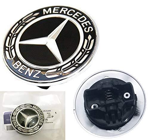 HNLJP Flat Hood Emblem for Mercedes Benz C E SL Class Ornament Logo Black 57MM