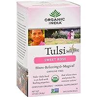 Organic India Tulsi Tea Sweet Rose - 18 Tea Bags - Case of 6 by Organic India