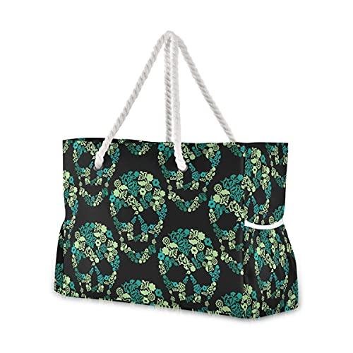 Mnsruu Bolsa de playa de viaje, bolsa de playa de hombro grande, bolsa de asas de cuerda de algodón para mujer