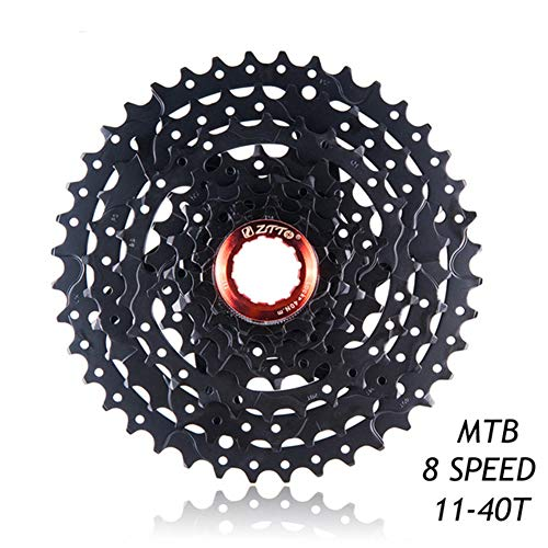 LAIABOR Rueda Libre Mountain Bike MTB Bicicleta Cassette Casete Piñón Relación Amplia Compatible 11~40T, 8 Velocidad con Sistema,Negro,8S 11~40T
