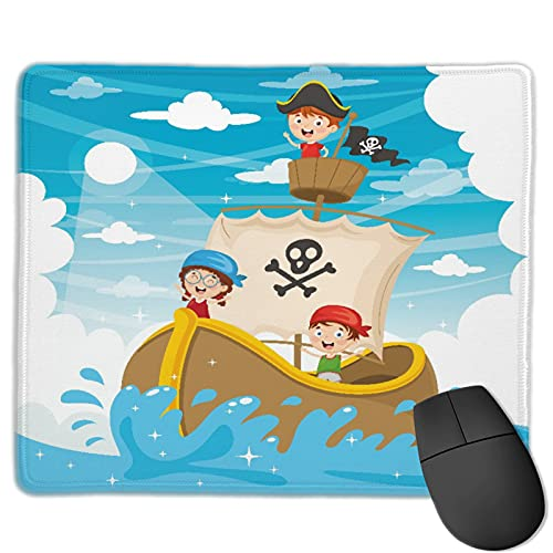 Zollamt Mauspad,Cartoon Kinder Piratenschiff,Quadratisches Gaming-Mauspad, rutschfeste Gummibasis für Heim-Laptop, Reisen, personalisierter Schreibtisch, 9,5 'x 7,9'