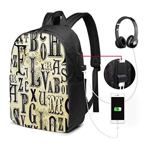 Laptop Rucksack Business Rucksack für 17 Zoll Laptop, Klassische Schriftarten Schulrucksack Mit USB Port für Arbeit Wandern Reisen Camping,für Herren Damen