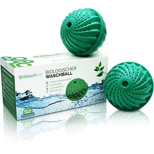 2x Waschklar® Öko Waschball [MIT SCHUTZBEUTEL] Saubere Wäsche OHNE Waschmittel - Waschkugel für Waschmaschine, Nachhaltige Produkte, Bio Wäscheball für Allergiker