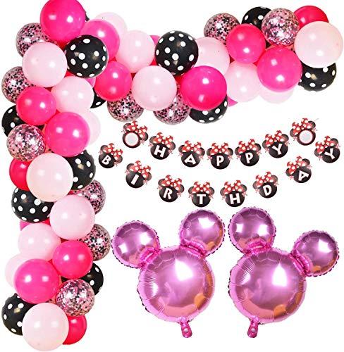 Globos Rosa Minnie, Decoraciones de Cumpleaños de Minnie Mouse, Decoraciones de Fiesta de Cumpleaños de Niña, Globos Negros Rosas, Globos de Látex, Pancarta de Feliz Cumpleaños