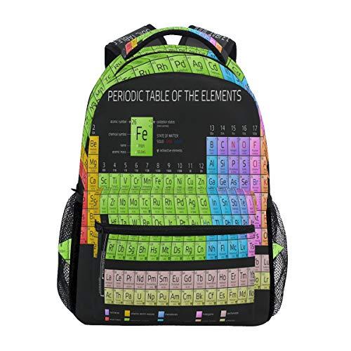 WXLIFE Mochila de viaje con tabla periódica de los elementos educativos