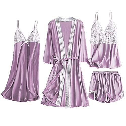 SUMTTER 4 Stück Satin Pyjama Damen Sexy Dessous Set Spitze Nachthemd Nachtwäsche Bademantel Reizwäsche Lingerie mit Shorts