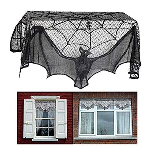 Weesey Rechthoekig polyester kant tafelkleed, zwart spinnenweb; perfect voor Halloween, dinerfeestjes en griezelfilmavonden