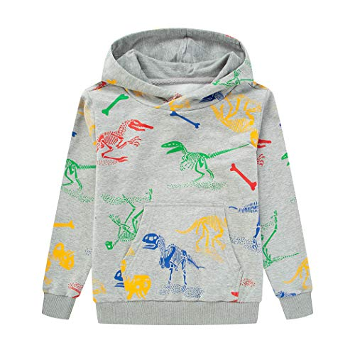 LAUSONS Kinder Kapuzenpullover Jungen Dinosaurier Pullover Sweatshirt,Grau(130)