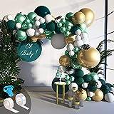 Ballon Guirlande Kit Balloon Arch Kit, Jungle Arche Ballon Vert blanc, Or vert Métallisé Ballon en Latex Pack pour Anniversaire De Mariage Toile De Fond Décorations
