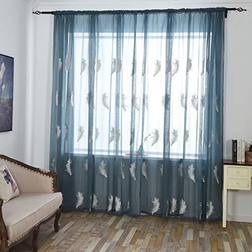 GWELL Voile Vorhang Feder-Muster bestickte Gardine Ösenvorhang Fensterschal Vorhänge für Schlafzimmer Wohnzimmer 100 * 250cm B x H