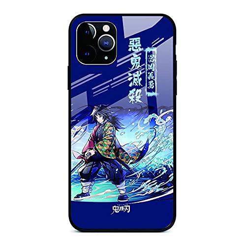 Anime Demon Slayer Kimetsu no Yaiba Funda de teléfono de Vidrio Templado para iPhone 6 6S 7 8 Plus X XR XS MAX 11 Pro MAX SE 2021-Demon_Slayer_For_iPhone_8_Plus