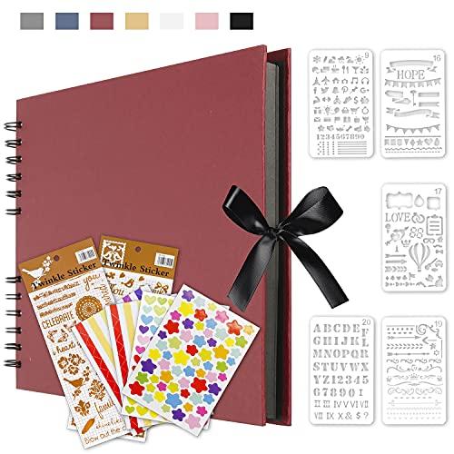 Qisiewell Album de Fotos Scrapbook 80 Páginas (40 hojas Negras) DIY Scrapbooking Encuadernación en Espiral Álbum Original para Aniversario de Boda de Invitados Boda Rojo