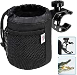 kemimoto Bar Cup Holder, Oxford Fabric Drink Cup Can Holder with Drain and Alligator Clip for Motorcycle, ATV, Scooter, Marine Boat, Kayak, Bike, Wheelchair, Walker, Golf Cart, RV, Camper, Desk