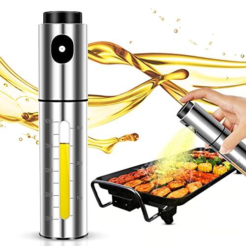 Lauon ÖlSprüher für Kochen,100ml Edelstahl Öl Dispenser für Air Fryer, Küche Utensilien Ölflasche für Salat, BBQ, Backen, Braten, Grillen
