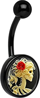 Unisex Adult Black Red Rose Skeleton Cameo Belly Button Ring