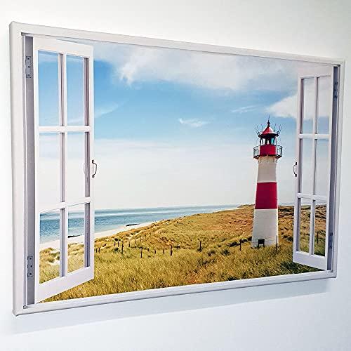 Leinwand mit Fensterblick - Druck auf Canvas Leinwand - moderner Kunstdruck - XXL Wandbild – Fenster mit Ausblick - Keilrahmen mit Druck (Strand mit Leuchtturm, 90 x 60 cm)