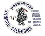 Sons of Anarchy 13 x Piece Full Size Biker Patch set. SOA Patches. SAMCRO Top Rocker by Merch2Rock