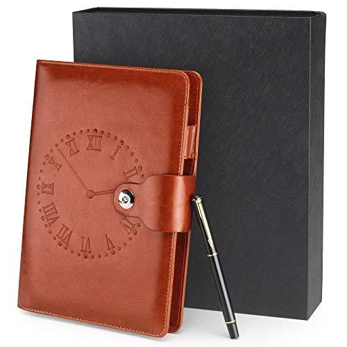 A5 Journal Vintage Leder Notizbuch Braun mit Geschenkbox und Stift Personal Organizer Ringbuch Nachfüllbare Tagebuch Konferenzmappe Schönes Geschenk ideen für Männer Frauen Erwachsene Kinder Kollegen